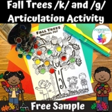 /k/ and /g/ Fall Trees Printable Articulation Activity Spe