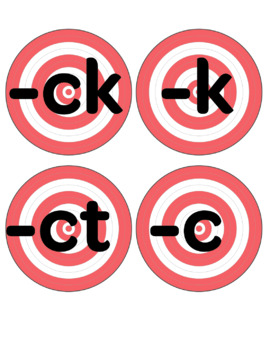ck, k, ct, and ic for /k/ OG sound spelling game (includes 90 practice words)