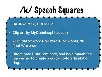 /k/ speech squares