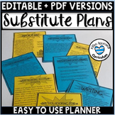 Editable Sub Plan Template Substitute Plans Template
