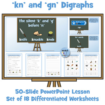 'kn' and 'gn' Digraphs - PowerPoint Lesson and Worksheets