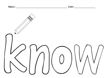 know sight word mini book
