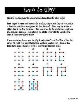 /l, r/ Dots and Boxes Quick-Print Games