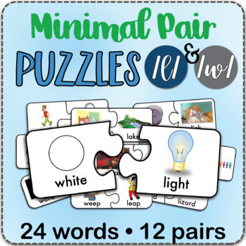 /l/ & /w/ Minimal Pairs Jigsaw Puzzles - Speech Therapy Activity Game