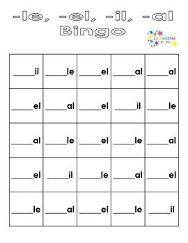 - le, -el, -il, -al Bingo - unaccented final syllables
