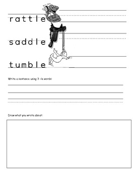 -le worksheet phonics and spelling C + -le