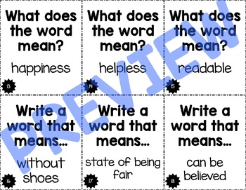 -less, -ness, -able Suffix Task Cards