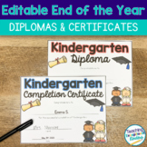 End of the Year Certificates and Diplomas Editable