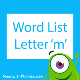'm' CVC Phonics Word List | Phonics Resource