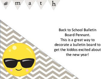 # math hashtag bulletin board decoration chevron pennant for back to school