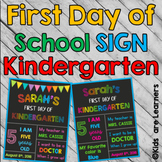 first day of kindergarten Signs - PowerPoint Editable