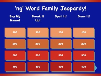 'ng' Word Family Jeopardy Games! {5 games}