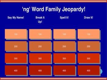 'ng' Word Family Jeopardy! [ang, ing, ong, ung]