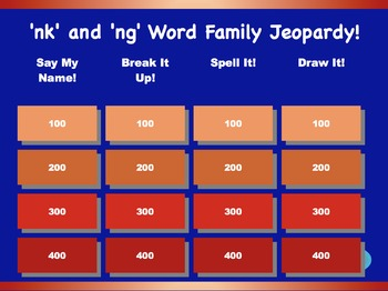 ng and nk Word Family Jeopardy Games! {9 games}