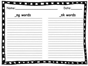 -ng and -nk Word Sort Activity