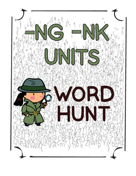 -ng, -nk units word hunt activity for upper elementary students