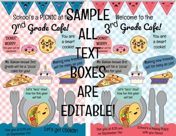 #nofrillsBTS {Editable} Back to School Student Welcome Cards (food cafe kawaii)