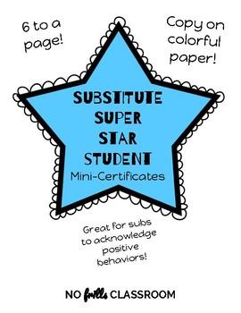 #nofrillsfreebie Substitute Super Star Student Mini-Certificates