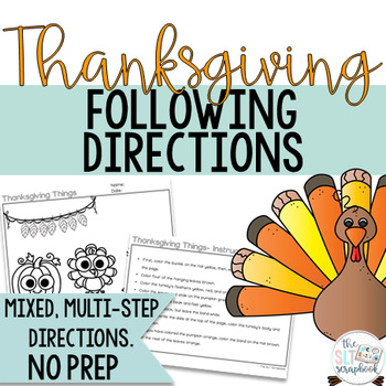 Thanksgiving Themed Following Directions Coloring Pack