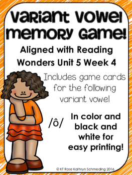 /ô/ Sound Memory Game---Aligned with Reading Wonders Unit