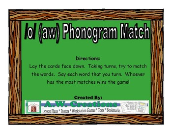 /o/ (aw) Match Literacy Center/Workstation Phonics Game