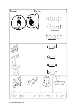 'oa' Long o Phonics Worksheet
