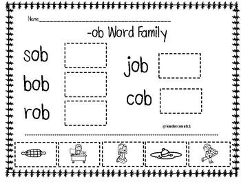 -ob Word Family Cut and Paste