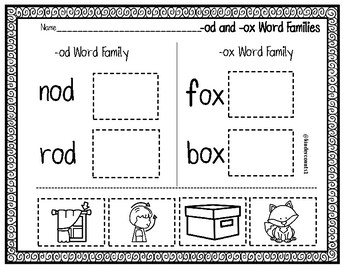 -od and -ox Word Family Cut & Paste