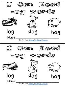 -og Word Family Emergent Reader Kindergarten with Pocket Chart Cards & More