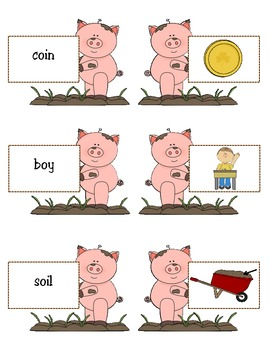 -oi and -oy: Oink! Oink! Pigs in the Mud- Matching Game