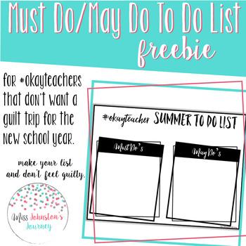 #okayteacher summer to do list template freebie