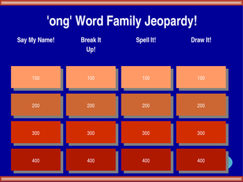 'ong' Word Family Jeopardy!