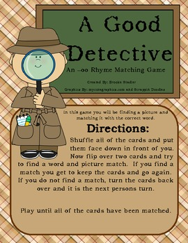 -oo (as in good) Picture/Word Memory Game: A Good Detective