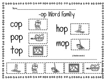 -op Word Family Cut & Paste