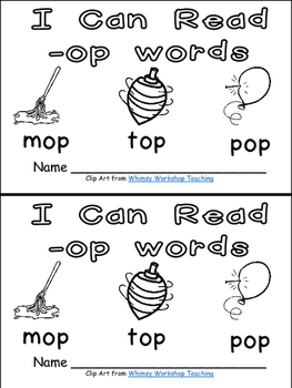 -op Word Family Emergent Reader Kindergarten with Pocket C