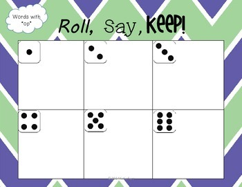"""-op"" Word Family Game {Roll, Say, Keep!}"