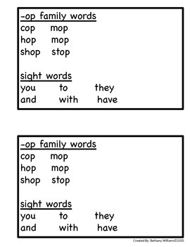 -OP Word Family Reader