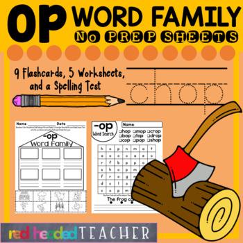 -op Word Family Worksheets