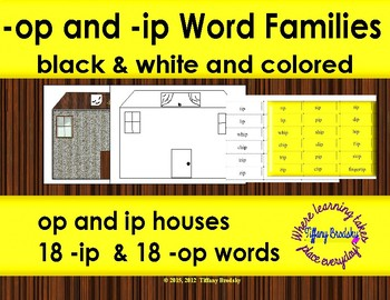 -op and -ip Word Family (Families) Houses Board or Mat Game