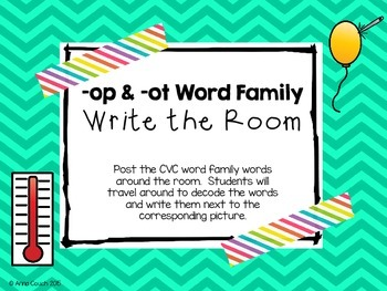 -op & -ot Word Family Write the Room