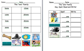 -ope -one and -ore word family worksheets