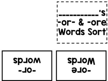 -or- & -ore Word Sort Folder