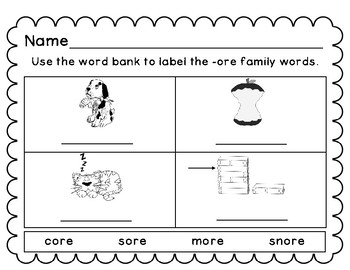 -ore Word Family Cards