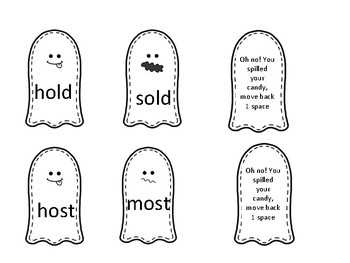 -ost, -ind, -old, -ild ghost themed phonics board game