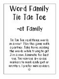 -ot Word Family Tic Tac Toe