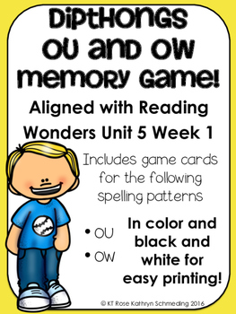 /ou/ Sound Memory Game---Aligned with Reading Wonders Unit