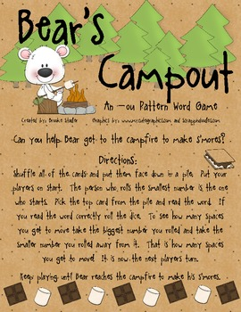 -ou Word Board Game: Bear's Campout