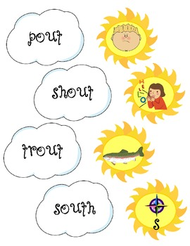-ou Word/ Picture Matching Game: Come Out Sun!