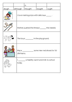 -ough words complete the sentence worksheet