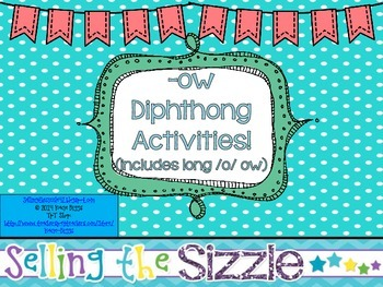 -ow Diphthong Activities! (includes both ow sounds)